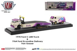 M2-Machines-Coca-Cola-haulers-1970-Ford-C600-Ramp-truck-1964-Ford-Econoline-Delivery-Van-Gasser-Fanta