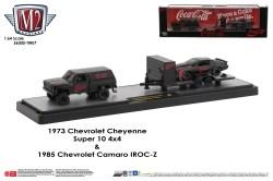 M2-Machines-Coca-Cola-haulers-1973-Chevy-Cheyenne-Super-10-4X4-1985-Chevy-Camaro-IROC-Z-Coca-Cola