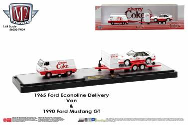 M2-Machines-Coca-Cola-Auto-Haulers-release-CherryCoke-Ford-Econoline-Delivery-Van-Ford-Mustang-GT