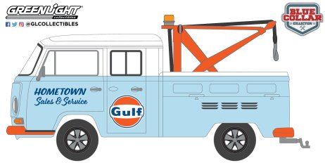 GreenLight-Collectibles-Blue-Collar-Collection-Series-10-1969-Volkswagen-Double-Cab-Pickup-Tow-Hook-Gulf
