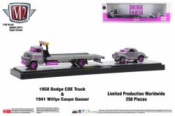 M2-Machines-Coca-Cola-Auto-Haulers-Release-TW13-1958-Dodge-COE-Truck-1941-Willys-Coupe-Gasser-Super-Chase