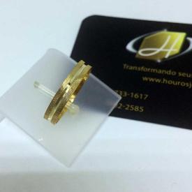 Par de Alianças Ouro 18k Casamento 3,5mm 2,5g Trabalhada