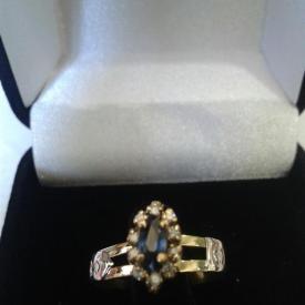 Anel Formatura Ouro 18k Pedra Natural Brilhantes