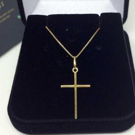 Cordão de Ouro Feminino com Crucifixo