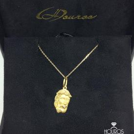 Cordão de Ouro Masculino Corrente Cartier Cadeado 60cm + Pingente Face de Cristo