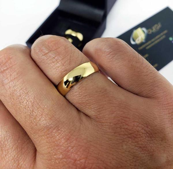 Par de Alianças Ouro 18k Casamento 5mm 8g Abaulada