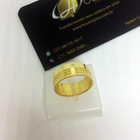 Par de Alianças Ouro 18k Casamento com Brilhante 3 Frisos 8mm 14g