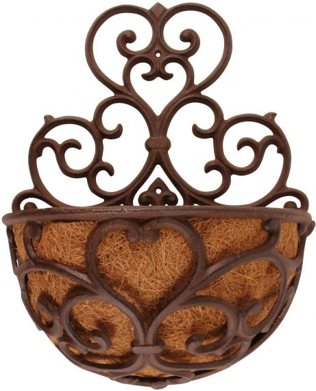 CAst Iron Half Round Classic Wallplanter With Coconut Liner