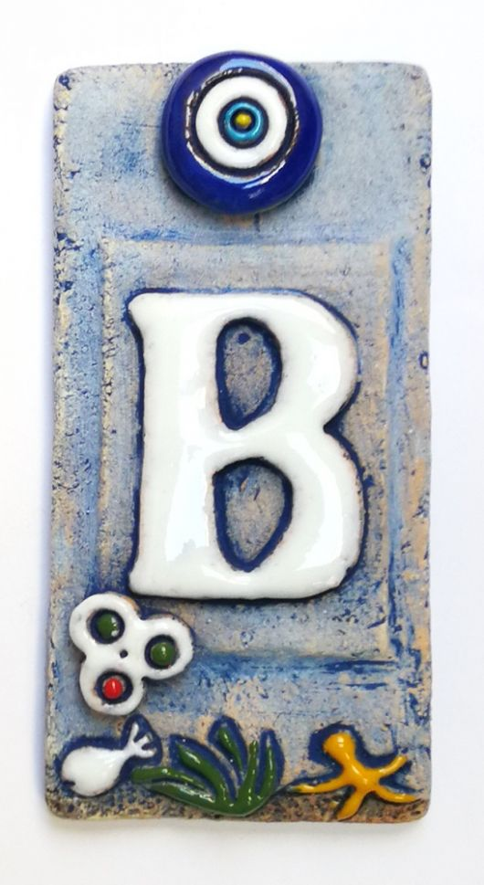 ceramic tile house address numbers 4 72inch x 2 28inch hand decorated house number signs door numbers vintage housewarming gifts number b