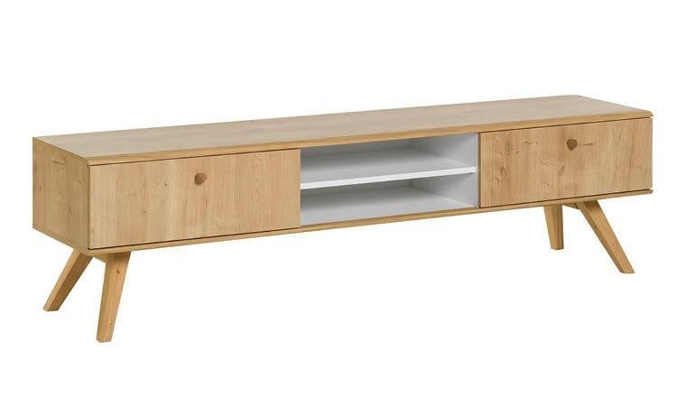meuble tv scandinave 180 cm coloris chene et blanc nature