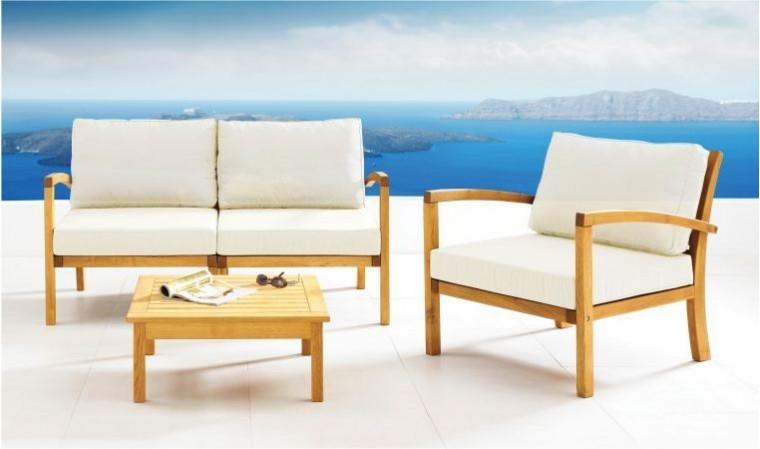 salon de jardin de luxe en bois 3 places milan