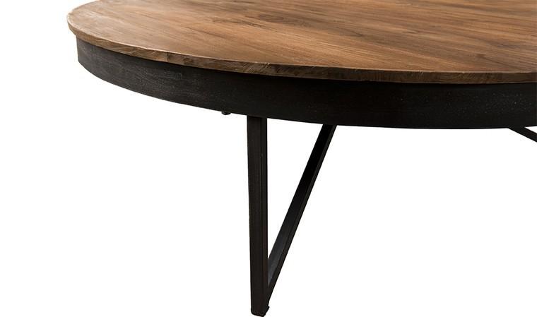 table basse ronde o110 cm teck et metal thekku