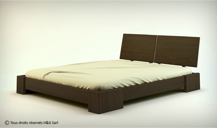 lit 2 personnes en bois massif wenge indigo