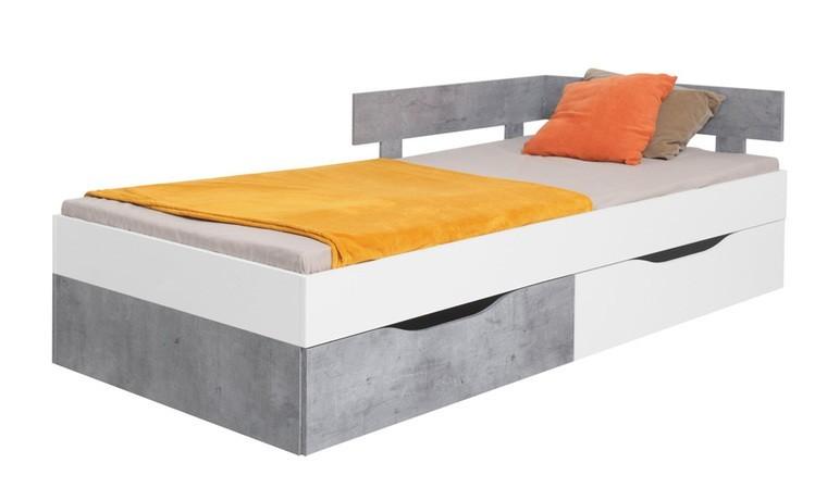 lit 90 x 200 cm avec 2 tiroirs alaska blanc