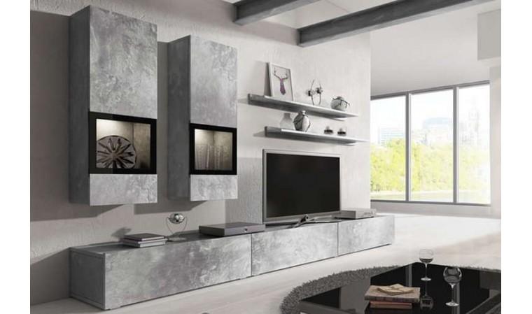 meuble tv avec rangements muraux coloris beton burgos