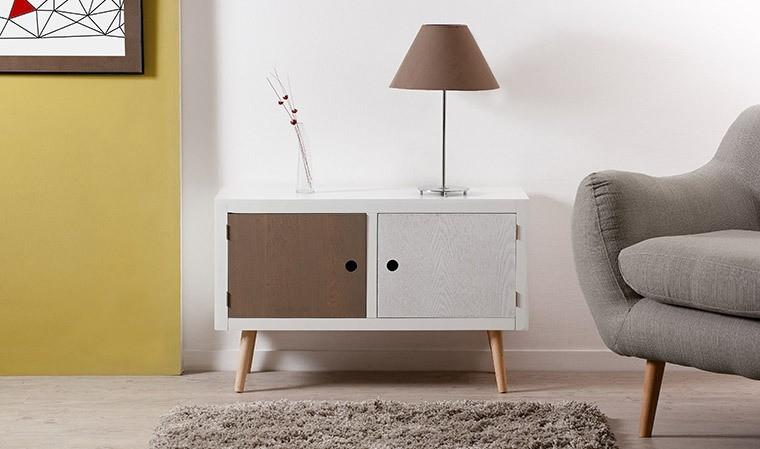 meuble de rangement en pin massif 2 portes malo