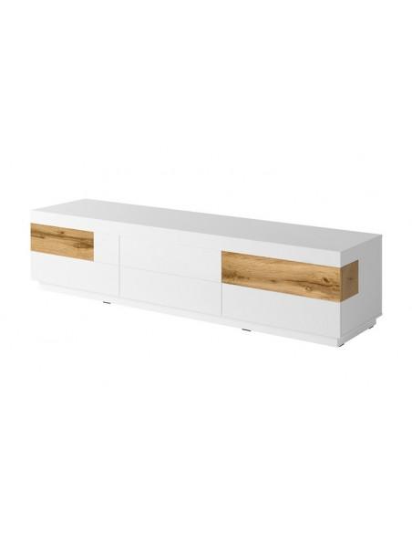 meuble tv 6 tiroirs couleur blanc brillant et chene vigo