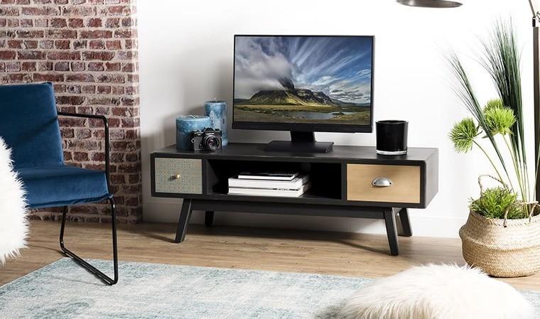 meuble tv noir avec motifs 2 tiroirs cooper