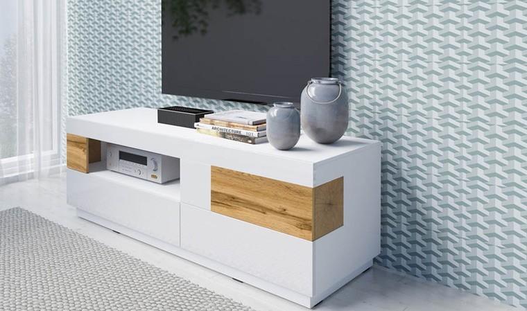 meuble tele blanc brillant 2 tiroirs et 1 porte vigo