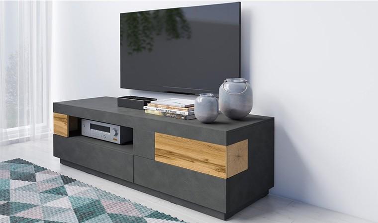 petit meuble tv noir design vigo