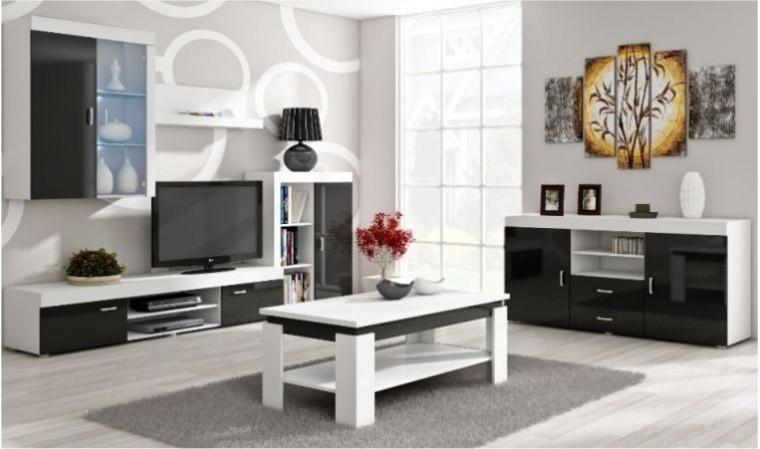 ensemble meuble tv mural hugo noir et blanc