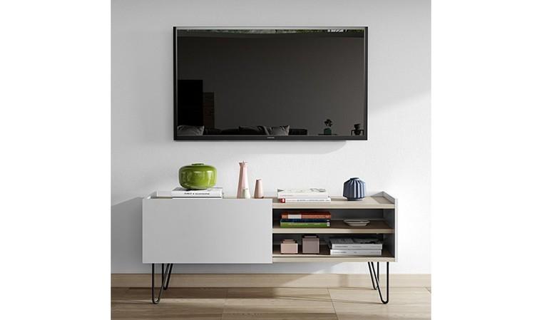 meuble tv blanc avec porte coulissante olympe