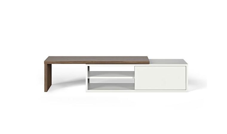 meuble tv extensible couleur noyer et blanc move