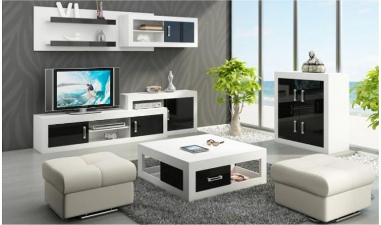 ensemble meuble tv mural notti a noir et blanc