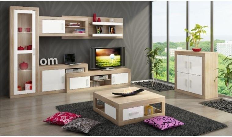 vente meuble mural tv complet notti avec vaisselier 1 porte contemporain