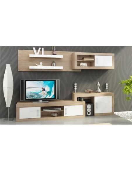 ensemble meuble tv mural notti c chene et blanc