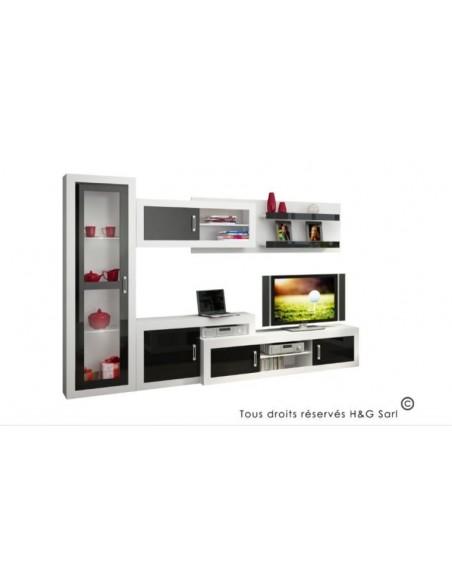 ensemble meuble tv mural notti c noir et blanc