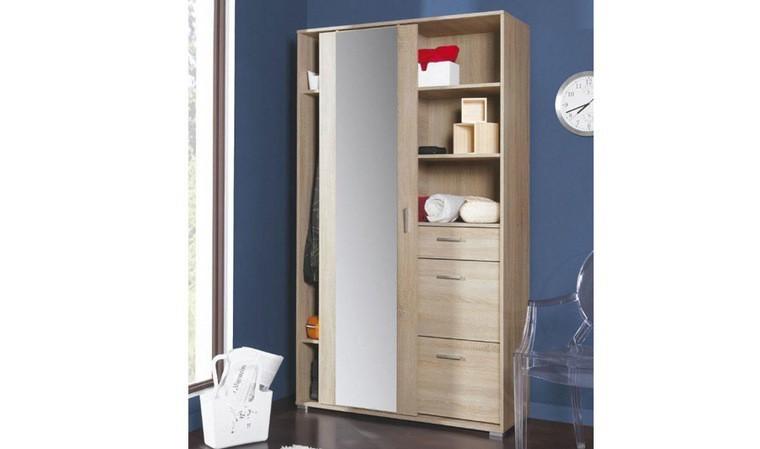 armoire 1 porte coulissante coloris chene sonoma isidore