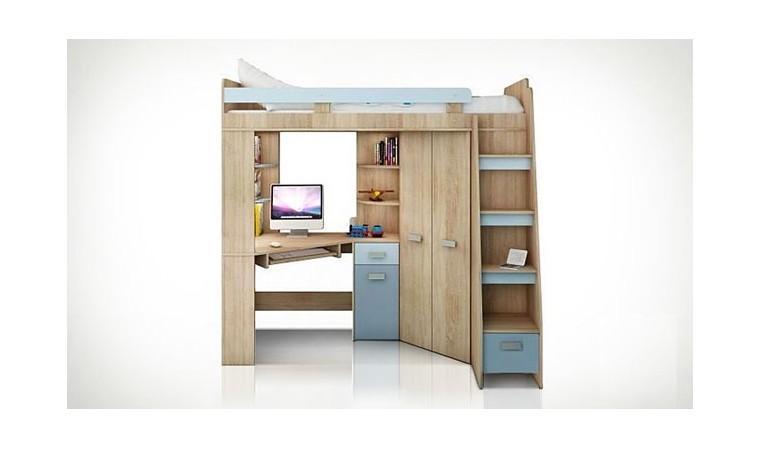 lit en hauteur avec bureau et armoire young bleu