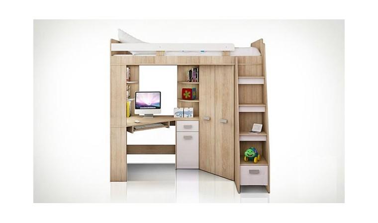 lit en hauteur avec bureau et armoire young blanc
