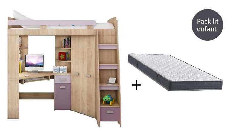 pack lit combine bureau armoire matelas young violet