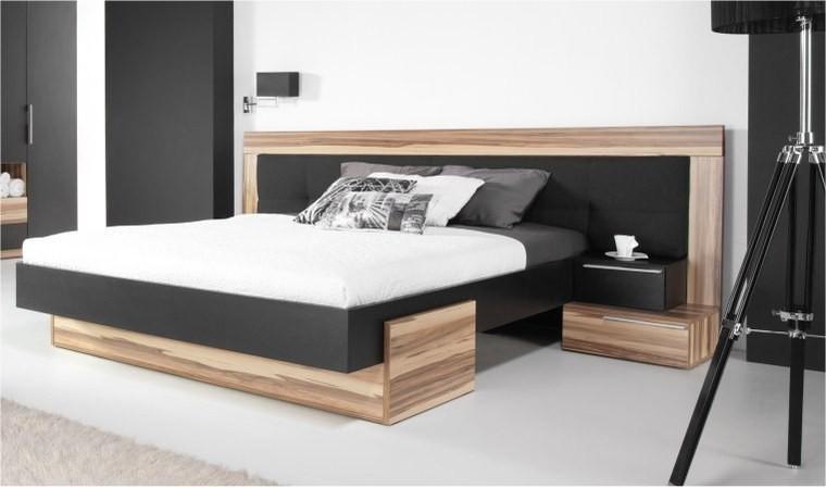 lit design noir et couleur bois black