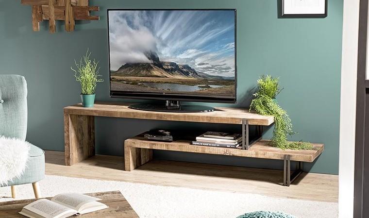 meuble tv modulable en bois recycle thekku