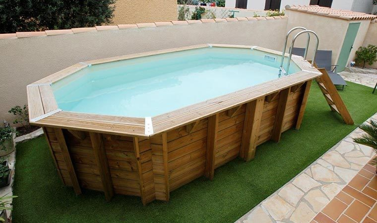 piscine bois tout equipee octogonale 3 55 x 5 50 ocea