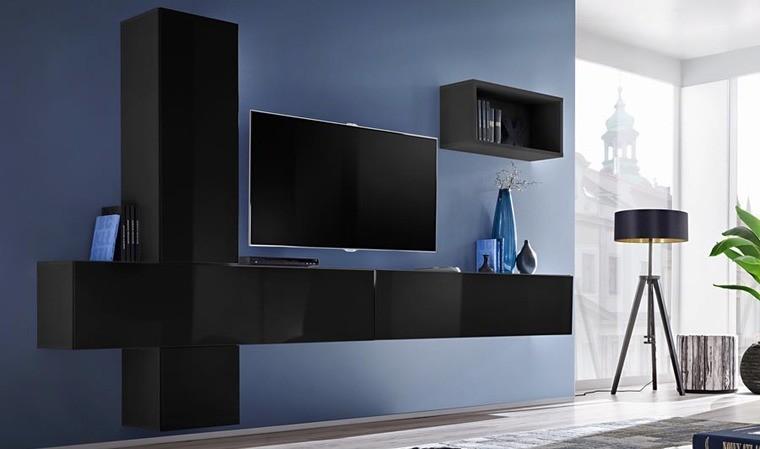ensemble meuble tv mural noir brillant brescia vi