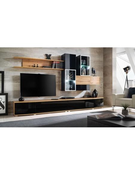 ensemble complet mural meuble tv noir brillant brodway