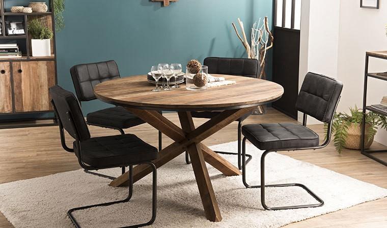 table ronde en bois recycle 130 cm thekku