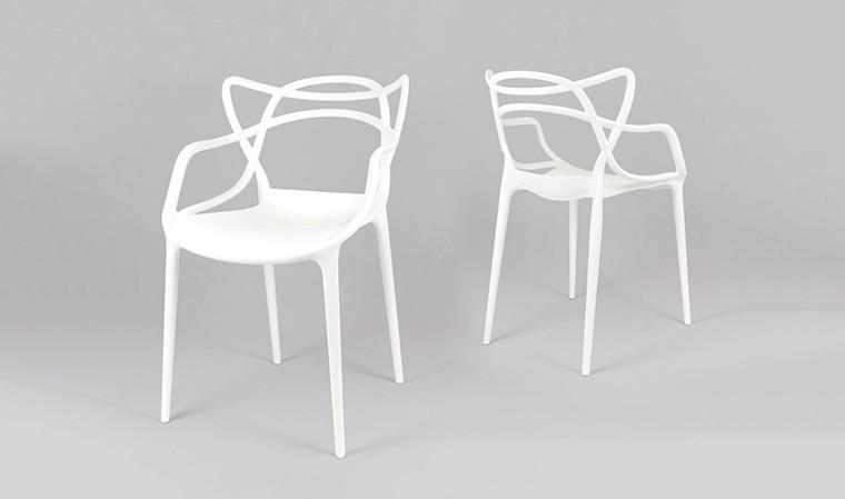 lot fauteuils blancs design empilables masters