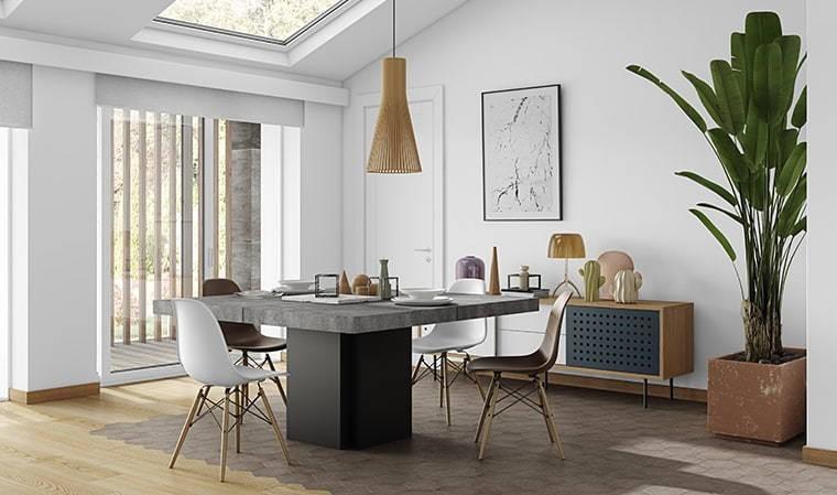 table repas noire plateau beton dusk 150