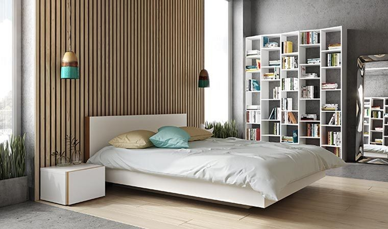 lit design bois blanc mat 160 x 200 float