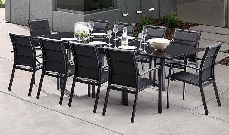 salon de jardin noir 10 fauteuils avec rallonge modulo