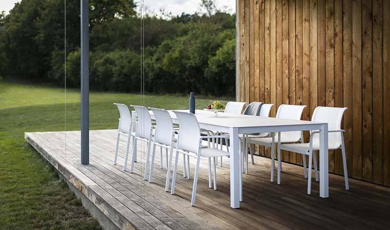 table de jardin en inox laque blanc plateau hpl puro