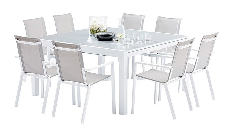 ensemble table et 8 chaises de jardin alu blanc whitestar