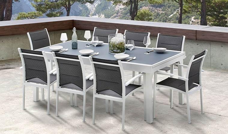 salon de jardin blanc et gris 8 fauteuils extensible modulo
