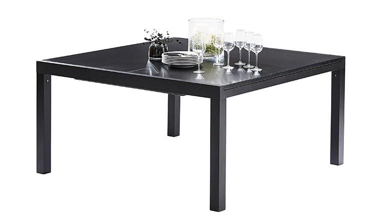 table de jardin carree extensible noire 8 12 personnes blackstar