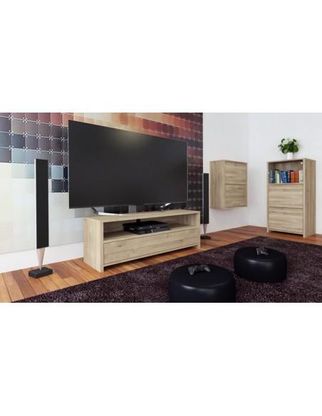 meuble tv en chene blanchi avec 1 tiroir june